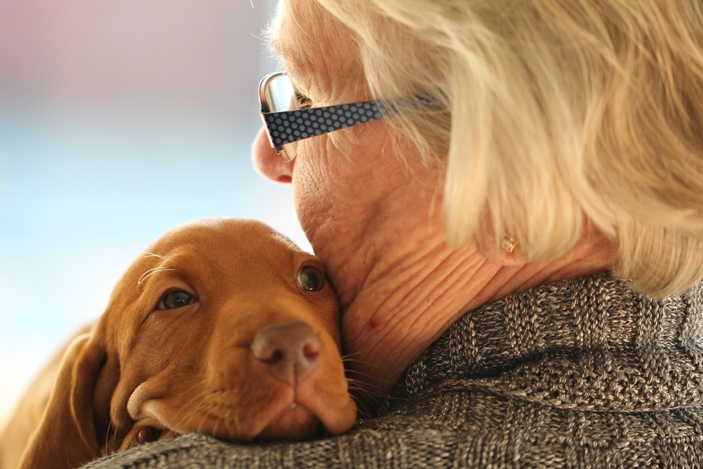Older woman holding puppy