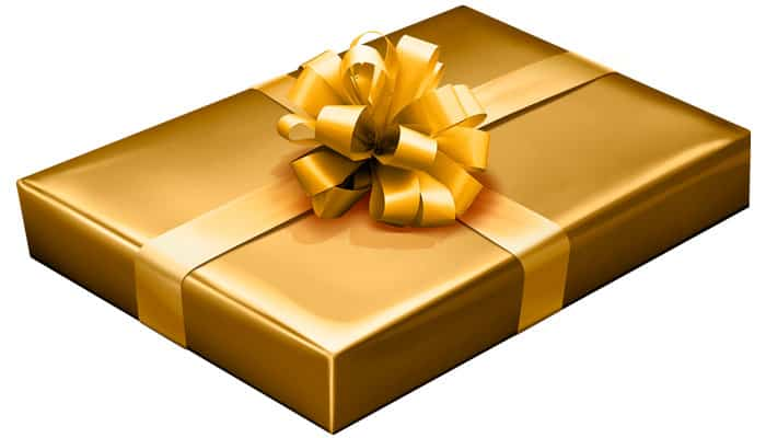 Gold Gift-Wrapped Box with Gold Bow