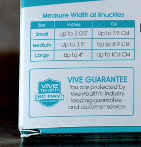 Box showing measuring instructions for Vive Textured Compression Gloves