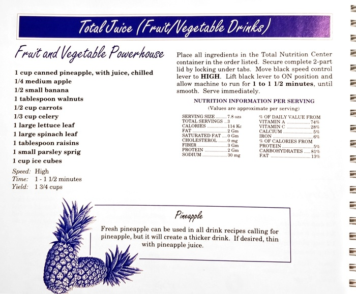 "A ""Total Juice"" (Smoothie) recipe from the Vita-Mix Total Nutrition Center Super 5000 recipe book."
