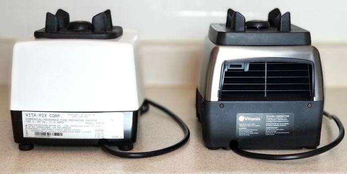 The Vitamix 750 Professional Series, pictured on the right, has a large air flow vent on the back.