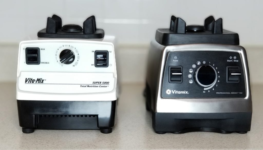 Side by side bases of the Vita-Mix Super 5000 and Vitamix 750 Professional Series