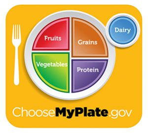 My Plate from USDA Showing Suggested Proportionate Serving Sizes