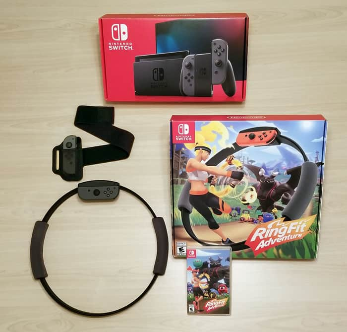 Nintendo Switch with Ring Fit Adventure Game, Rin-Con and Leg Strap