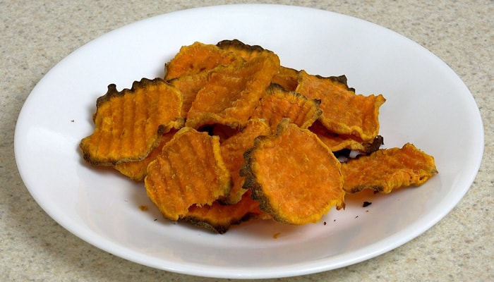 Baked Sweet Potatoes Sliced Thin with the Professional Salad Shooter