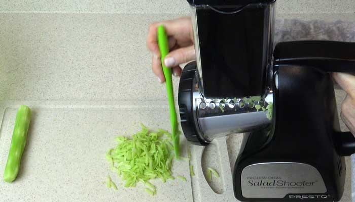 Shredding Broccoli Stalks with the Professional Salad Shooter