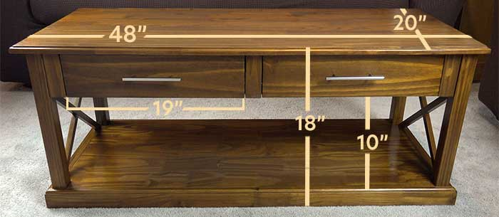 Dimensions of the Casual Home Bay View Coffee Table: 48 inches in length by 20 inches iin width by 18 inches in height